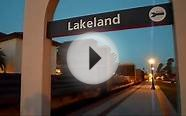 CSX Long Freight Train Downtown Lakeland Florida Amtrak