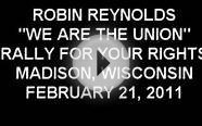 "ROBIN REYNOLDS sings ""WE ARE THE UNIONS"" in MADISON, WI"