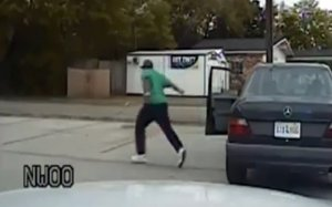 Walter Scott runs away from the vehicle that had been pulled over